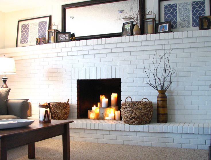 full-wall painted brick fireplace