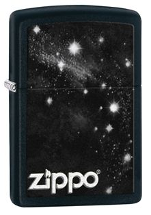 Reach for the Milky Way with this black matte lighter. This windproof lighter displays the Zippo logo surrounded by stars of the Milky Way making this an out of this world piece. Comes packaged in an environmentally friendly gift box. For optimal performance, use with Zippo premium lighter fluid.