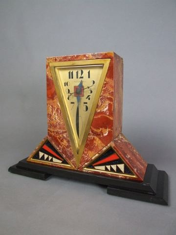 Art Deco marble and enamel clock