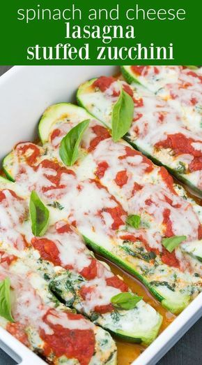 Spinach and Cheese Lasagna Stuffed Zucchini Boats, with four cheeses! This lighter take on lasagna is quick and easy to make! Vegetarian + Gluten Free. | www.kristineskitc...