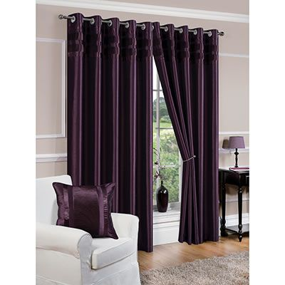 denver faux silk fully lined aubergine purple eyelet curtains