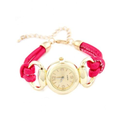 Y&F Luxury Fusia Pink Tone Bracelet Watch - Online Shopping for Bracelets n Bangles by CrazeeMania