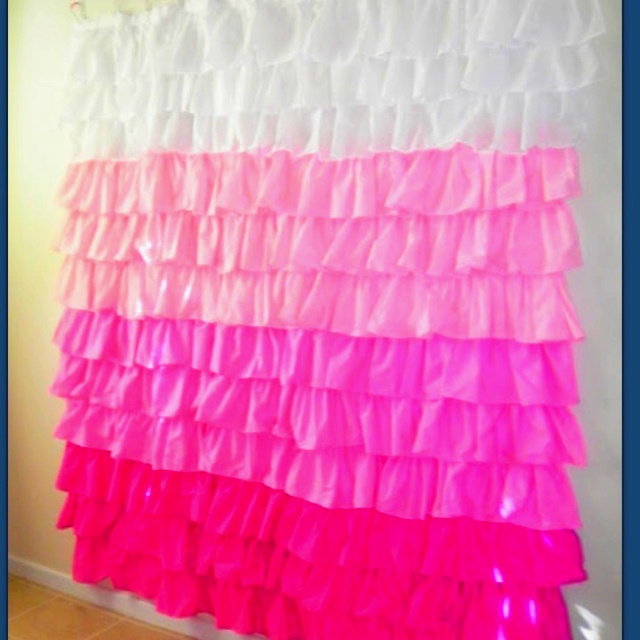 DIY Ruffle Shower Curtain Tutorial In Shades Of Pink For A Girls Bathroom Maybe Bed Skirt Or Curtains