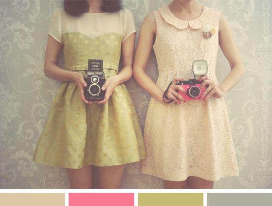 Color Inspiration: Vintage Girl PhotographersHipster Fashion, Girls, Vintagestyle, Cute Dresses, Vintage Wardrobe, Vintage Cameras, Fashion Photography, Old Cameras, Vintage Style