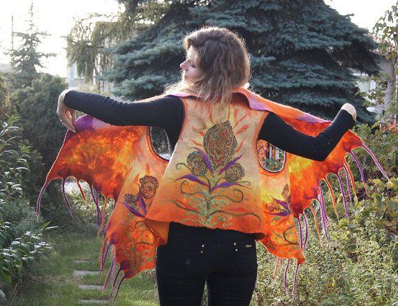 Unique felted vest bright orange wool vest with fancy by filcAlki