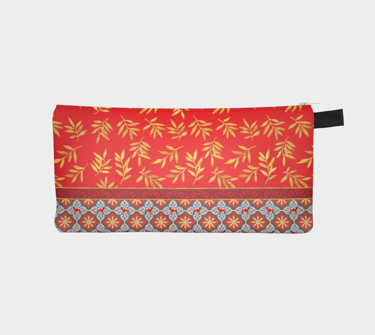 "Pencil+Case+""RED+WEIMS+AND+GOLD+LEAVES+""+by+BLU+WEIM+DESIGNS"