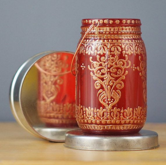 Moroccan Inspired Mason Jar Lantern Ruby Red Glass por LITdecor