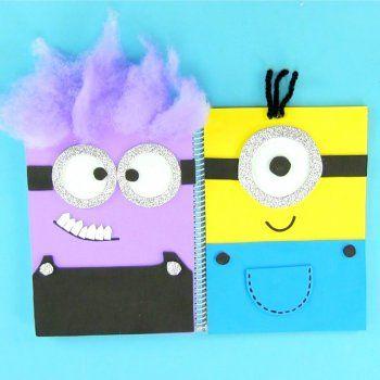Cuaderno decorado con minions para la vuelta al cole.
