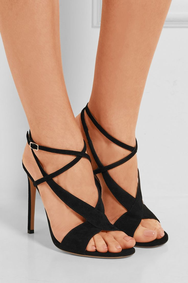 Heel measures approximately 105mm/ 4 inches Black suede Buckle-fastening  ankle strap Made in