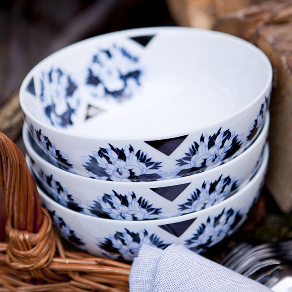 Ensaladera de porcelana pivoines bleues