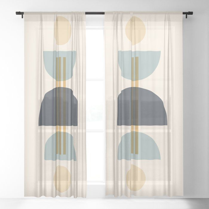 Sapphire Abstract Half Moon 1 Sheer Curtain By Selwyn Park