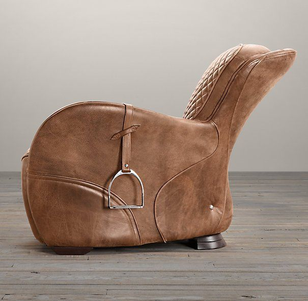 Our chair's equestrian aesthetic is informed by a traditional riding saddle, transformed into a luxurious retreat. Amply padded and swathed in panels of hand-finished leather, it features quilted stitching at the high, angled back and seat, while piping trims the rounded arms. Our chair's equestrian aesthetic is informed by a traditional riding saddle, transformed into …