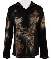 Cactus Fashion - French Cafe, Long Sleeve, Rhinestone Studded, Artfully Printed Cotton Womens Hoodie
