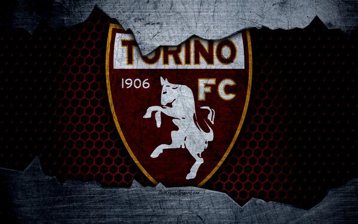 Hämta bilder Torino, 4k, konst, Serie A, fotboll, logotyp, football club, Torino FC, metall textur