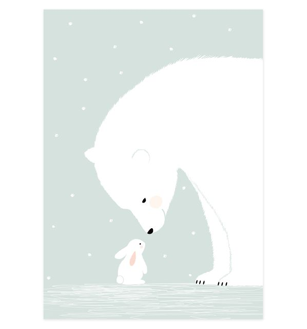 Polar bear and rabbit illustration.