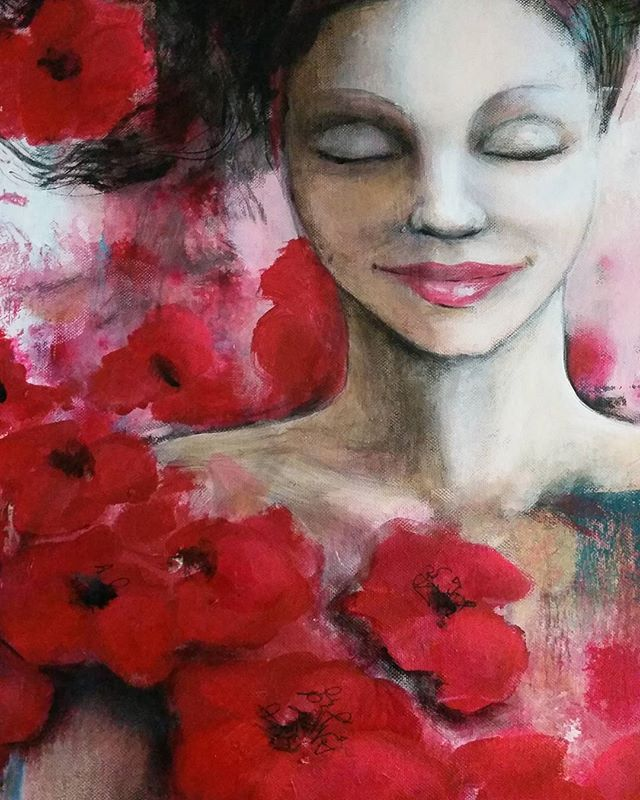 Warm breezes #detail of #newartwork #red #colorful #acrylic #painting #flowers #woman #portrait #mood #mindful #feelgood #art #love #warm #beautiful #breeze