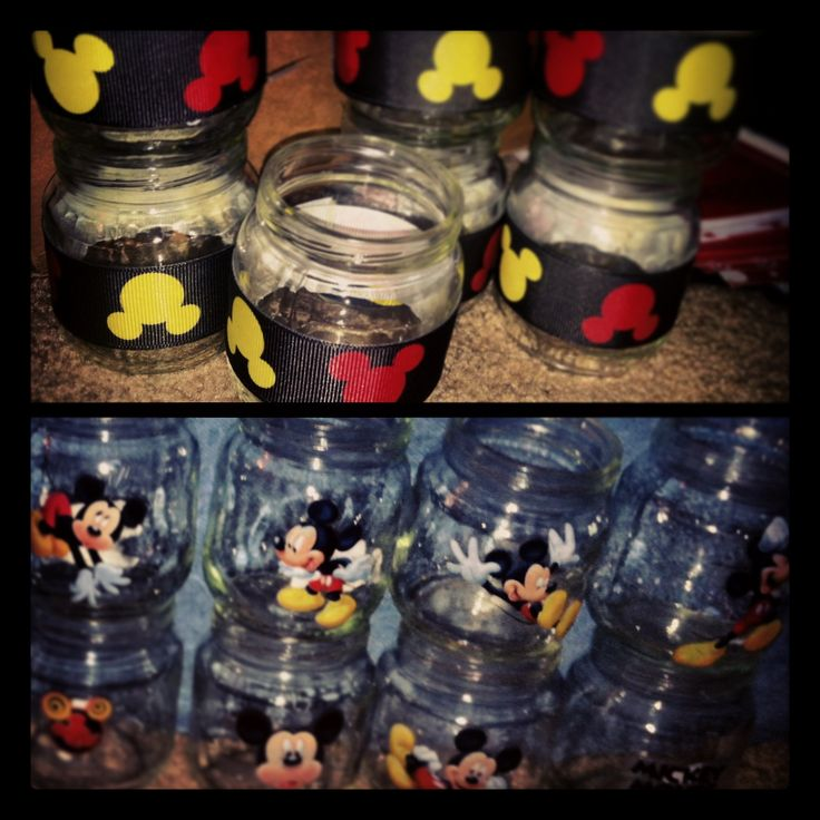 Mickey Mouse Party Favor Jars:   Made from baby food jars, ribbon & stickers!