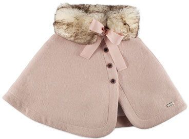 Pili Carrera Felted Button-Front Faux-Fur-Trim Capelet, Pink, Size 4-6