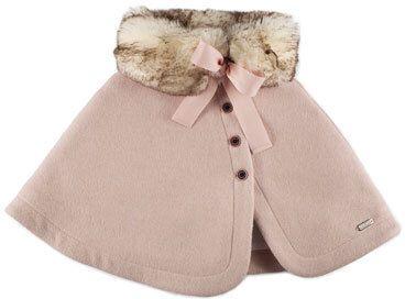 Pili Carrera Felted Button-Front Faux-Fur-Trim Capelet, Pink, Size 4-6