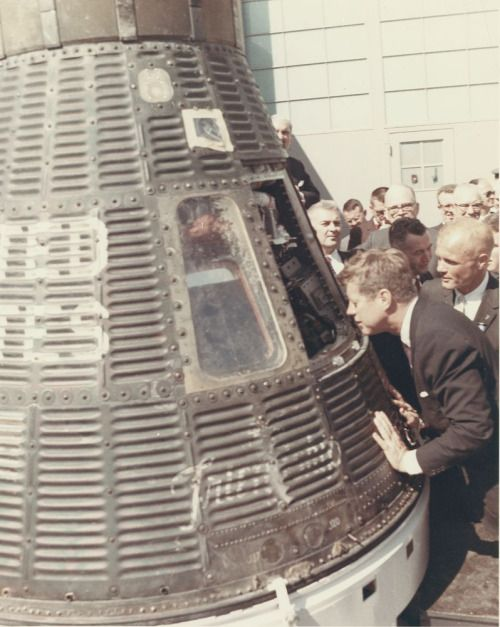 This Monday will be the 50th anniversary of Astronaut John Glenn's historic Friendship 7 flight. On February 20, 1962, John Glenn became the first American to complete orbital flight. In this photo, President John F. Kennedy inspects the interior of the Friendship 7 Mercury Capsule with John Glenn while touring Cape Canaveral, Florida. 2/23/62.