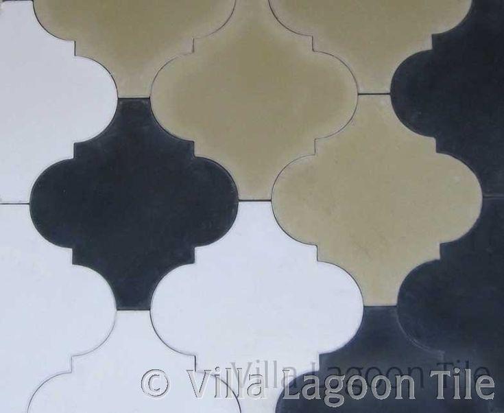 Moroccan Arabesque Shaped Colonial Tiles In Black, White, Tan. Arabesque  Tile. Cement