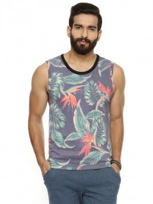 BREAKBOUNCE Tropical Vest With Contrast Rib
