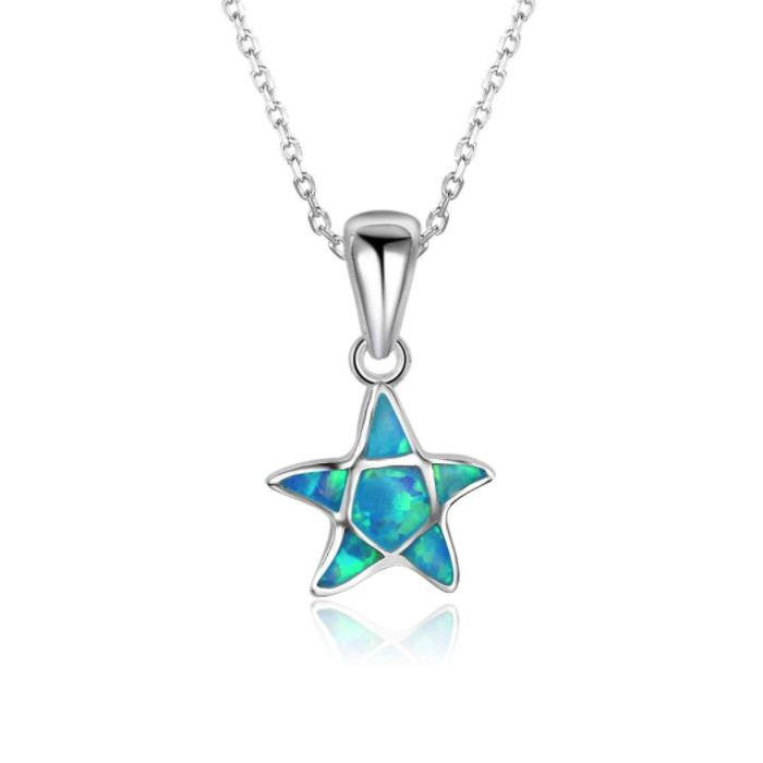 Post Included Aus Wide and to most international countries! >>> Opal Starfish Necklace - 925 Sterling Silver