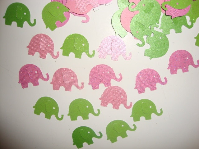 FREE SHIPPING 100 pink and green elephant confetti by jessicasue34, $4.50
