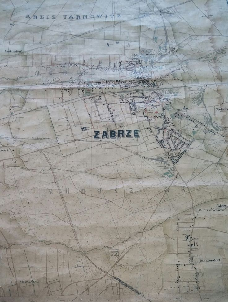 Map of Zabrze (Silesia) in 1905 Foto: Kamil Żbikowski www.facebook.com/MiejscaWZabrzu/photos/a.503710729762530.1073741836.383897218410549/649688755164726