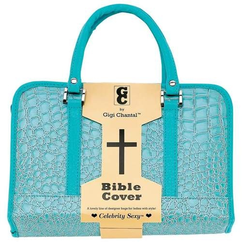 CROC EMBOSSED BLUE BIBLE COVER $28