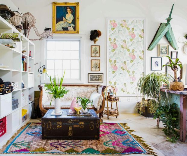 eclectic, vintage living area