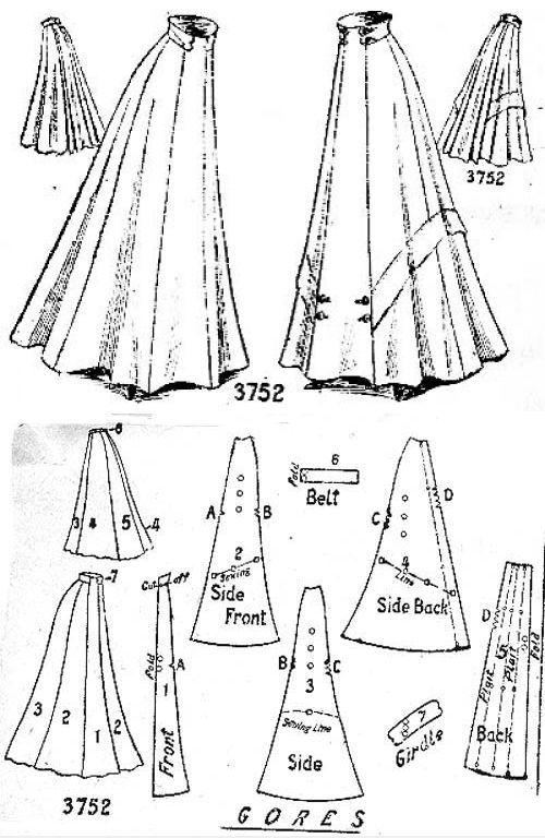 Ladies 8-gored skirt, Edwardian (1900s)