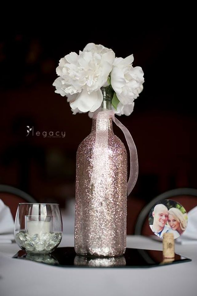 Wedding centerpiece sparkly wine bottle i really really Wine bottle wedding centerpieces