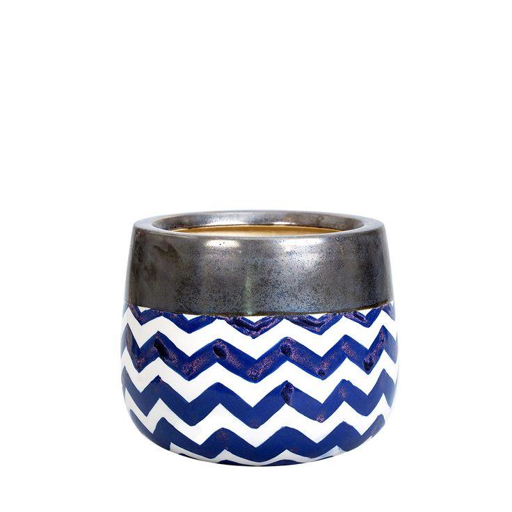 Ceramiczna doniczka Wa've L #doniczka #ceramiczna #ceramika #ceramics #pot #flowerpot #shine #gold #blue #unique #nowość #new #amiou #onemarket.pl