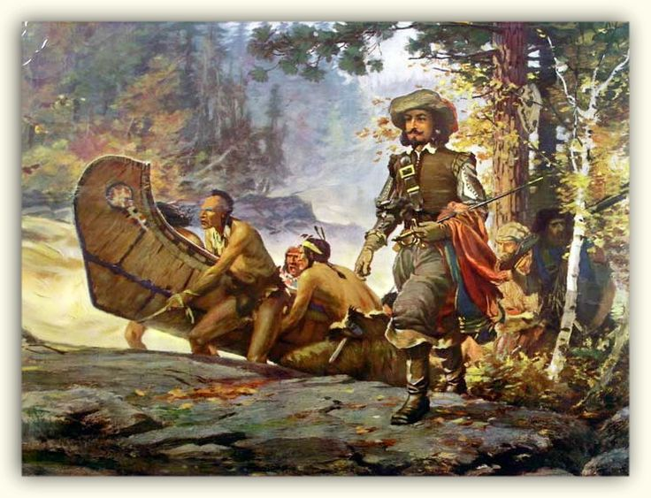 """Samuel de Champlain (1574 - 1635), """"The Father of New France"""", was a French navigator, cartographer, draughtsman, soldier, explorer, geographer, ethnologist, diplomat, and chronicler. He founded New France and Quebec City on July 3, 1608. Here is a J.D.Kelly painting of a portage in 1615."""