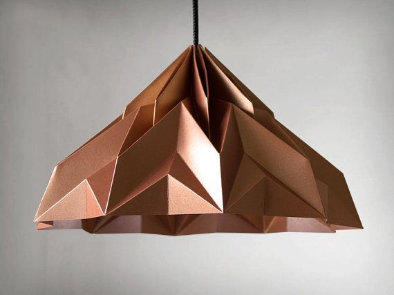 MAKE A WISH origami lampshade. Cardboard with a shimmering metallic surface on both sides, color: satin copper.  http://www.etsy.com/listing/112192178/make-a-wish-origami-lampshade-pendant