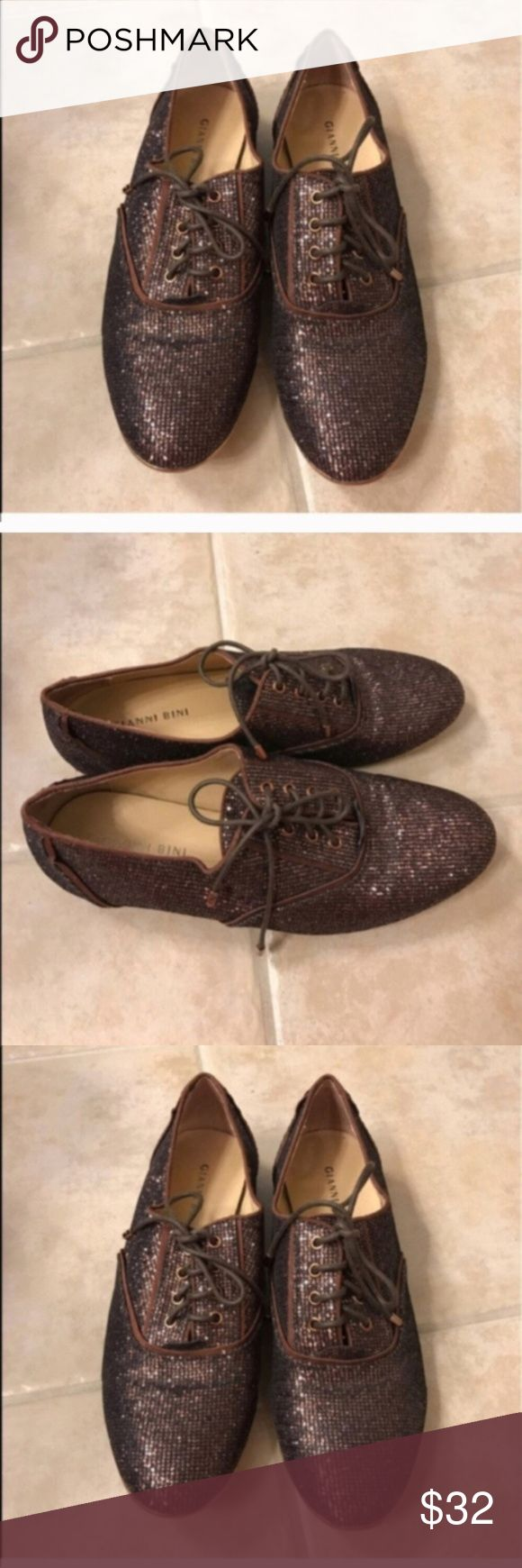 Gianni Bini brown shimmer Oxford shoes size 8 Gianni Bini brown shimmer Oxford shoes size 8 Gianni Bini Shoes Flats & Loafers