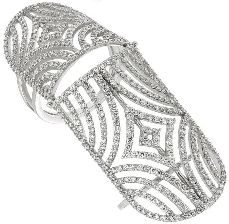 18K white gold diamond double knuckle ring