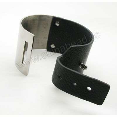 Fashion Bracelets, Embossed leather lace bracelet with stainless steel accesories, Black, Approx 40mm height and 64mm in diameter, Sold by strands