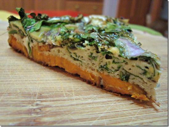 sweet potato and kale frittata | Nutritarian Living | Pinterest