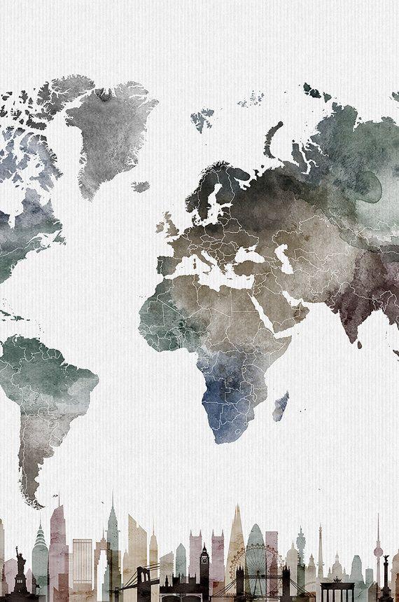 Reisekarte mit Städten Wandkunst Poster Karte Aqu…