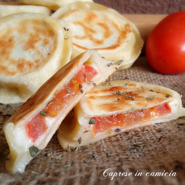 Caprese in camicia. PASTA MATTA AL LATTE + pomodori tondi mozzarella asciutta o scamorza origano basilico