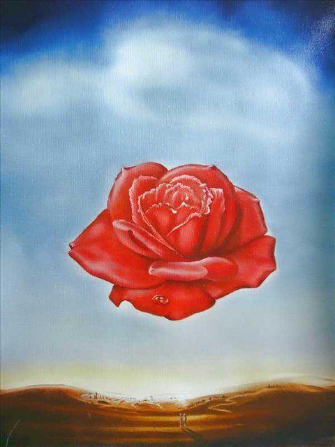 Сальвадор Дали. Цветок, похожий на человеческое сердце, между небом и пустынной землей. С капелькой слезой на лепестках.