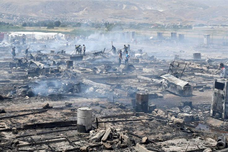 A devastating fire tore through a camp for Syrian refugees in Lebanon's Bekaa Valley on Sunday, killing at least one person  and leaving two in critical condition, the U.N. refugees' organization said.