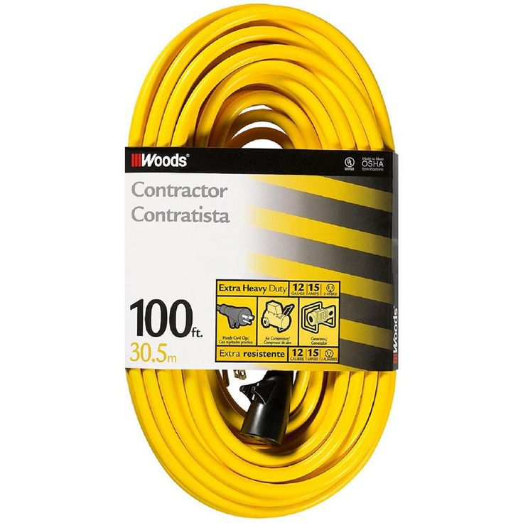 100 ft. 12/3 Sjtw High Visibility Extension Cord with Cord Clip, Yellow