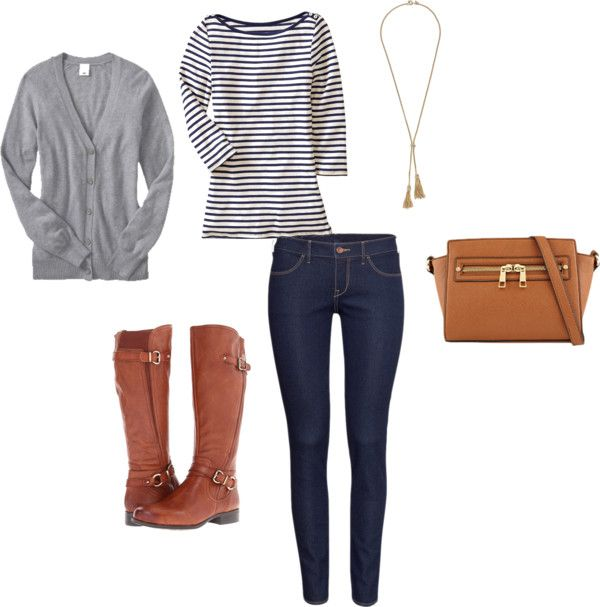 Cardigan + Striped Top + Skinny or Straight Jeans + Riding Boots Gray and cognac may seem like an unlikely combo but mixing cool and warm colors is completely on trend. If your default has been black shoes with cool colors, try swapping them out for a warm hue. Pretty Style Tip of the Day:…Continue Reading >