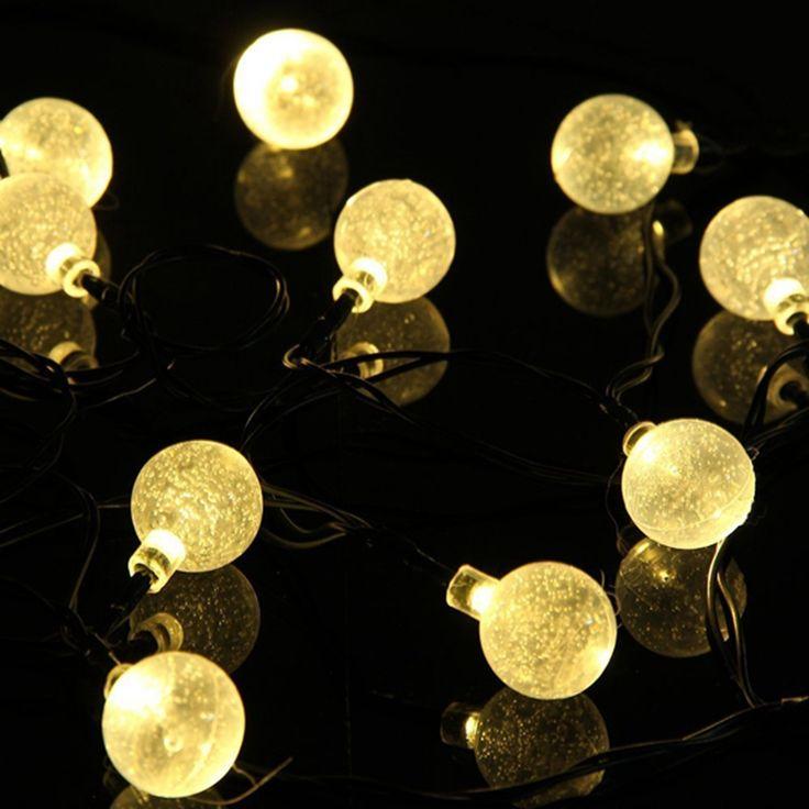 Lampu 4.8 M 20 LEDs Bola Kristal luz surya Waterproof Colorful Hangat Putih peri cahaya Dekorasi Taman Terbuka surya led string