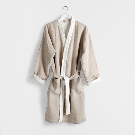 Peignoir en coton et lin effet contrastant - Bain - Essentiels | Zara Home Canada