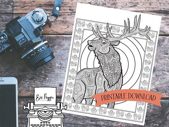 Coloring Page - Elk - North American Animal Art with Symbolism // INSTANT DOWNLOAD // Manifestation and Meditation Colouring Page