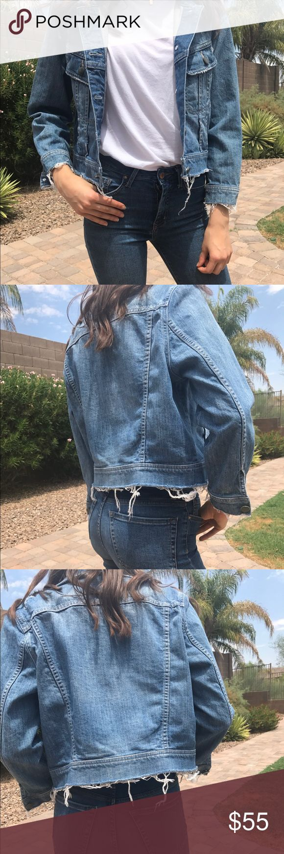 Distressed crop Jean jacket Faded distressed Jean jacket. Light weight. 3/4 length sleeves. Cropped fit. Runs small hinge Jackets & Coats Jean Jackets